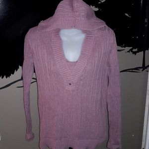 Womens sz M Axcess rose pink hooded sweater